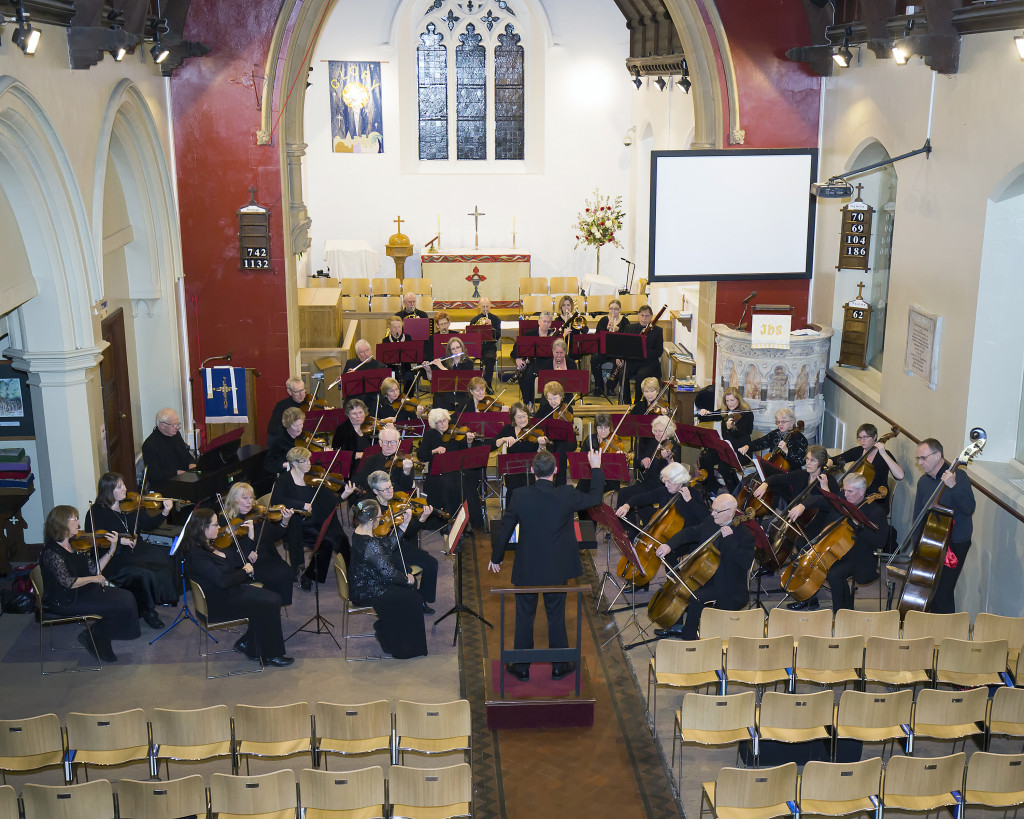 Poole Light Orchestra rehearsing at St Clements